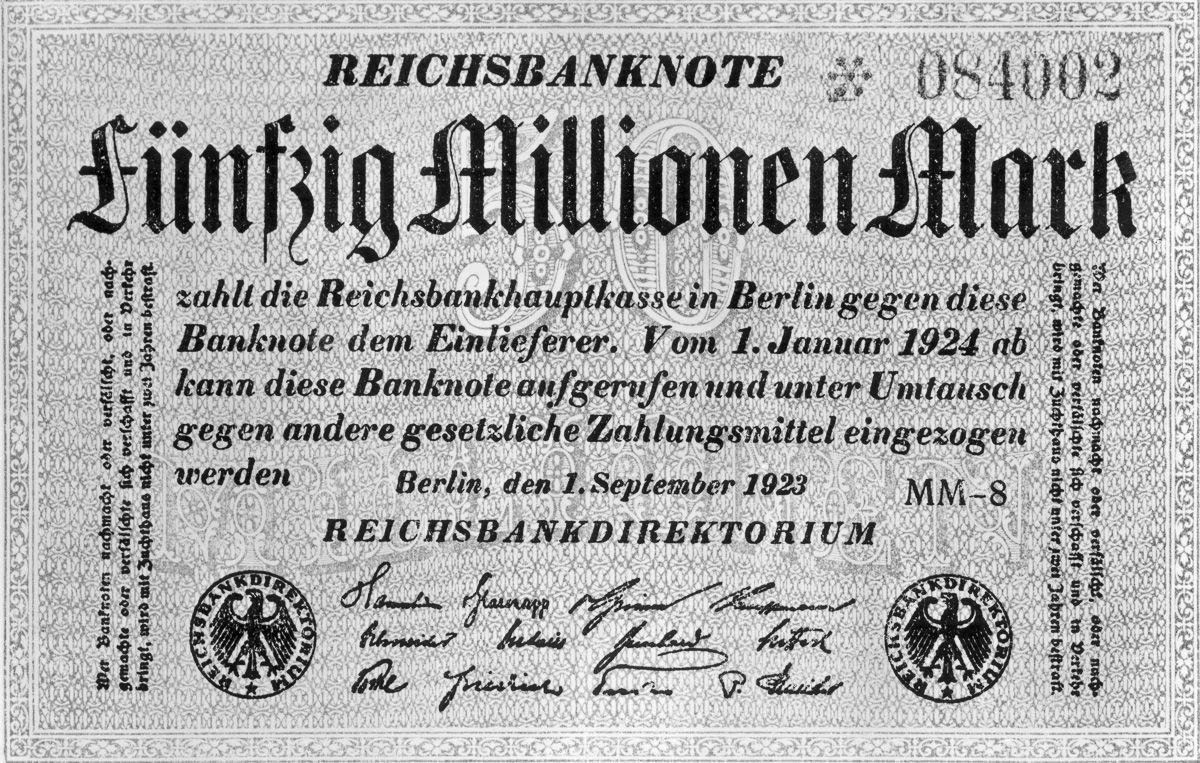 Банкнота в 50 миллионов марок, 1923 год