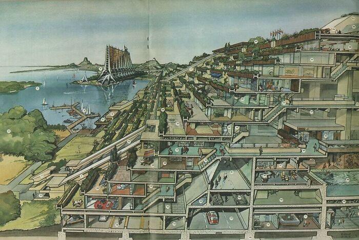 Футуристические Нидерланды, нарисованные в 1970 году