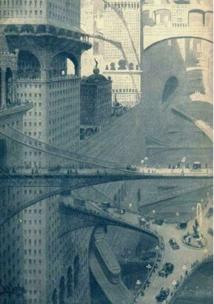 Город будущего, каким его представляли в 1908 году