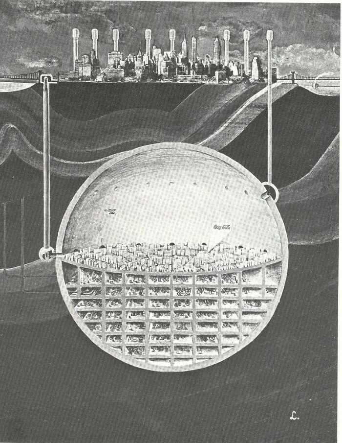 Защищённый от ядерного взрыва подземный город под Манхэттеном, 1969 год. Оскар Ньюман