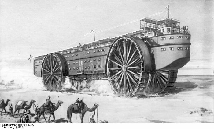 Концепция «Корабля пустыни» (Wüstenschiff) немецкого инженера Иоганна Кристофа Бишоффа, 1927 год