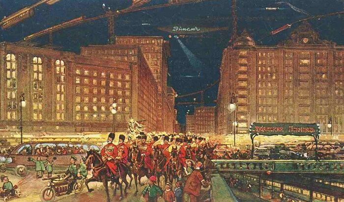 Лубянская площадь на карточке 1914 года «Москва в XXIII веке»