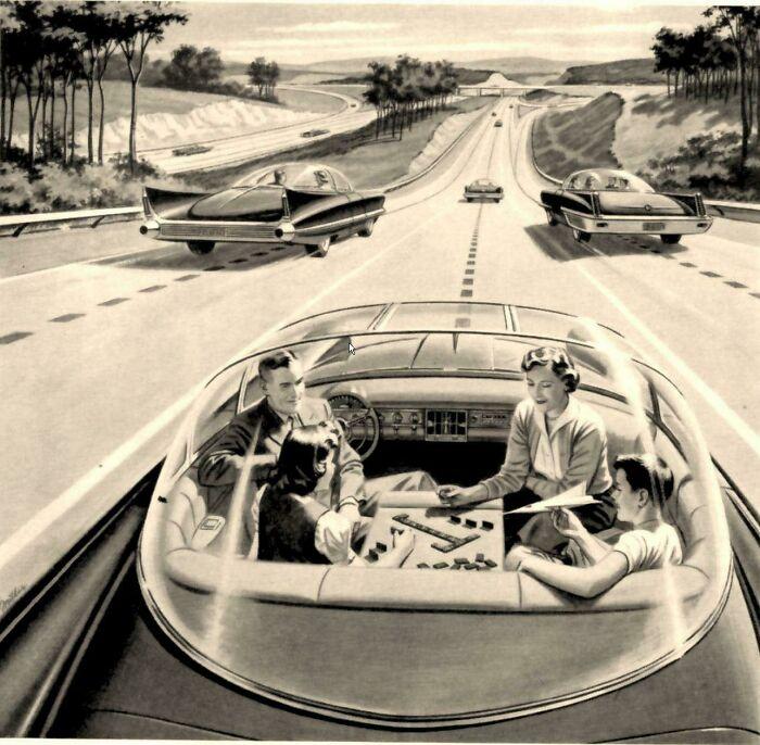 Автомобили с автопилотом будущего, примерно 1960 год