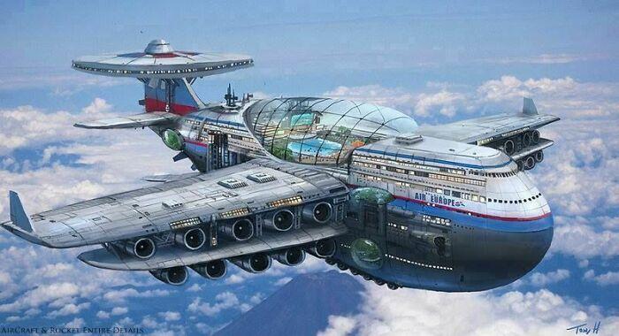 Футуристическая концепция авиалайнера 1970-х годов