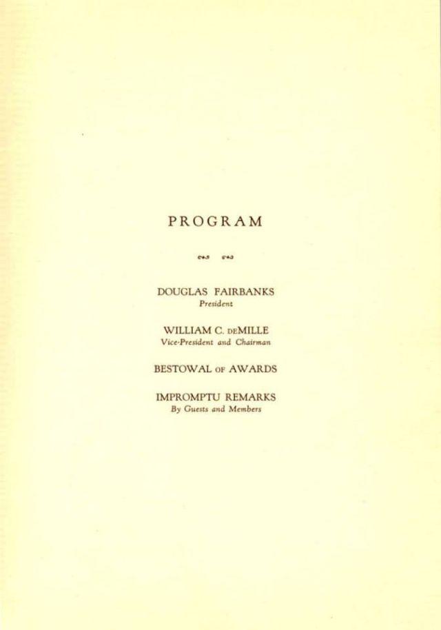Программа 1-й премии Американской академии кинематографических искусств и наук, 1929 год