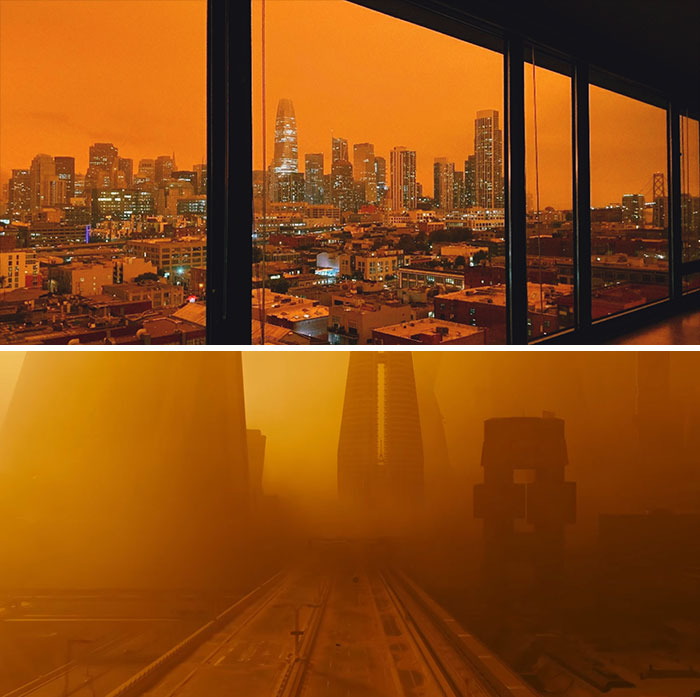 Сан-Франциско выглядит как кадры из фильма «Бегущий по лезвию 2049»