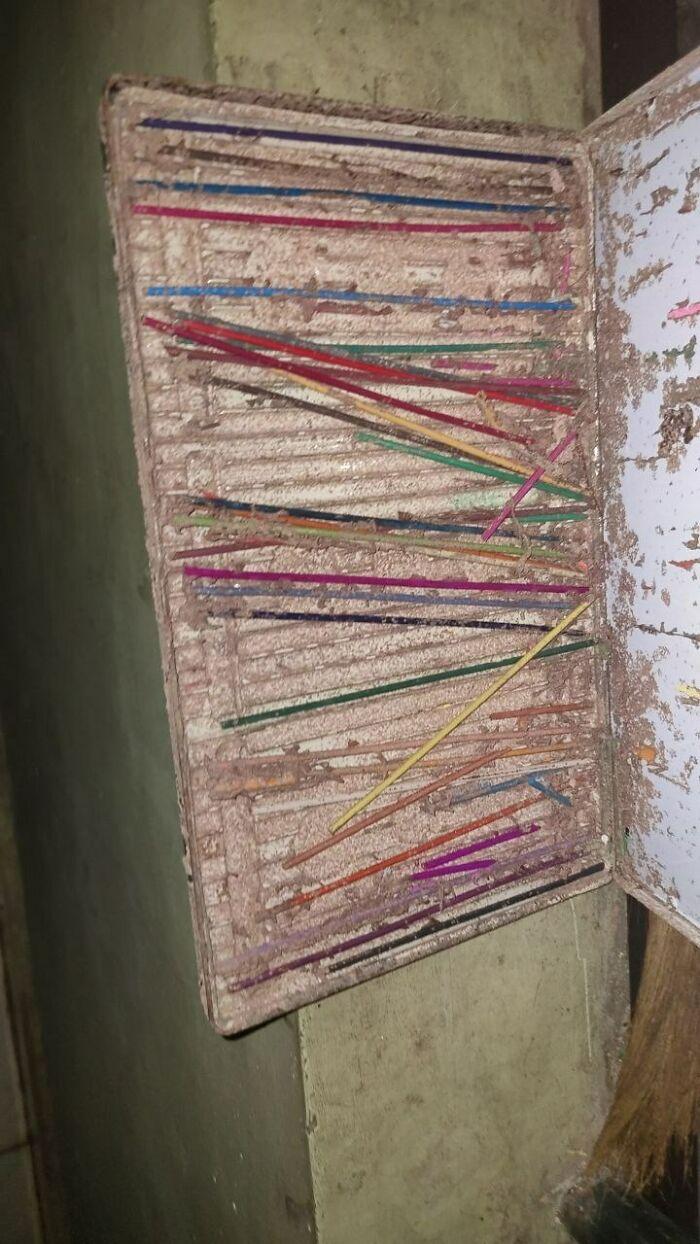 Старая коробка для цветных карандашей после того, как термиты съели всю древесину