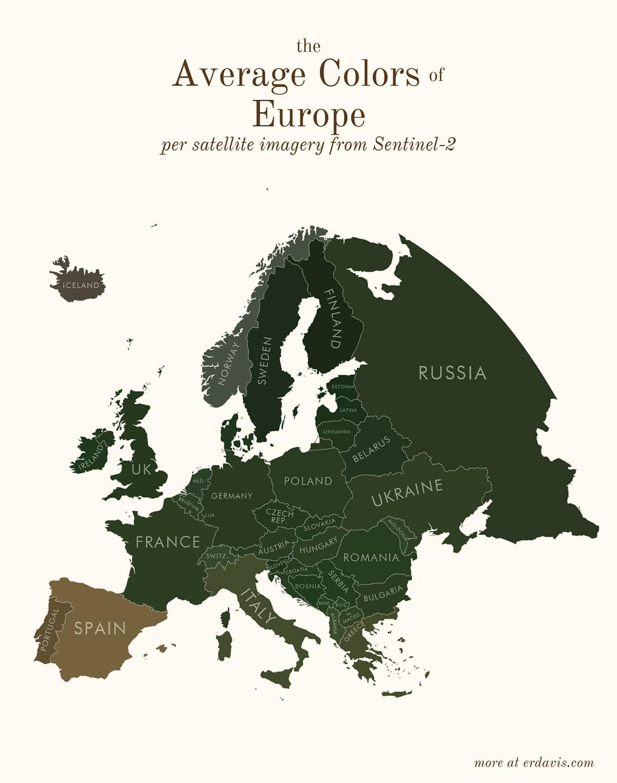 Средние цвета Европы