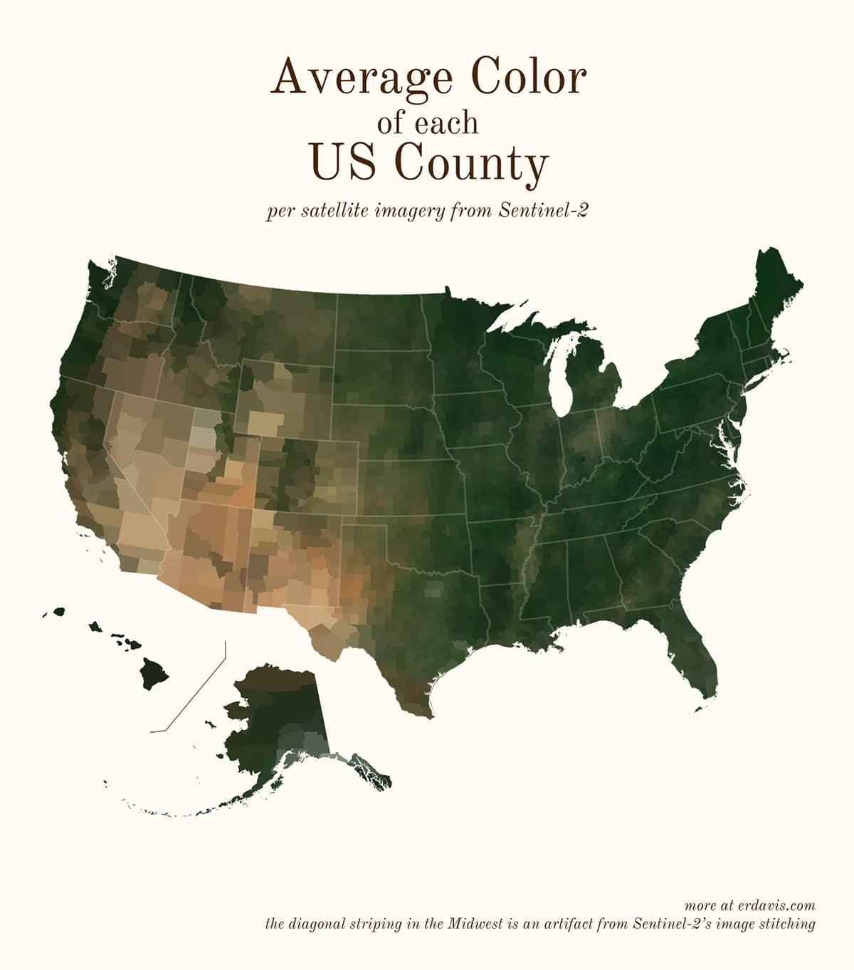 Средний цвет каждого округа США