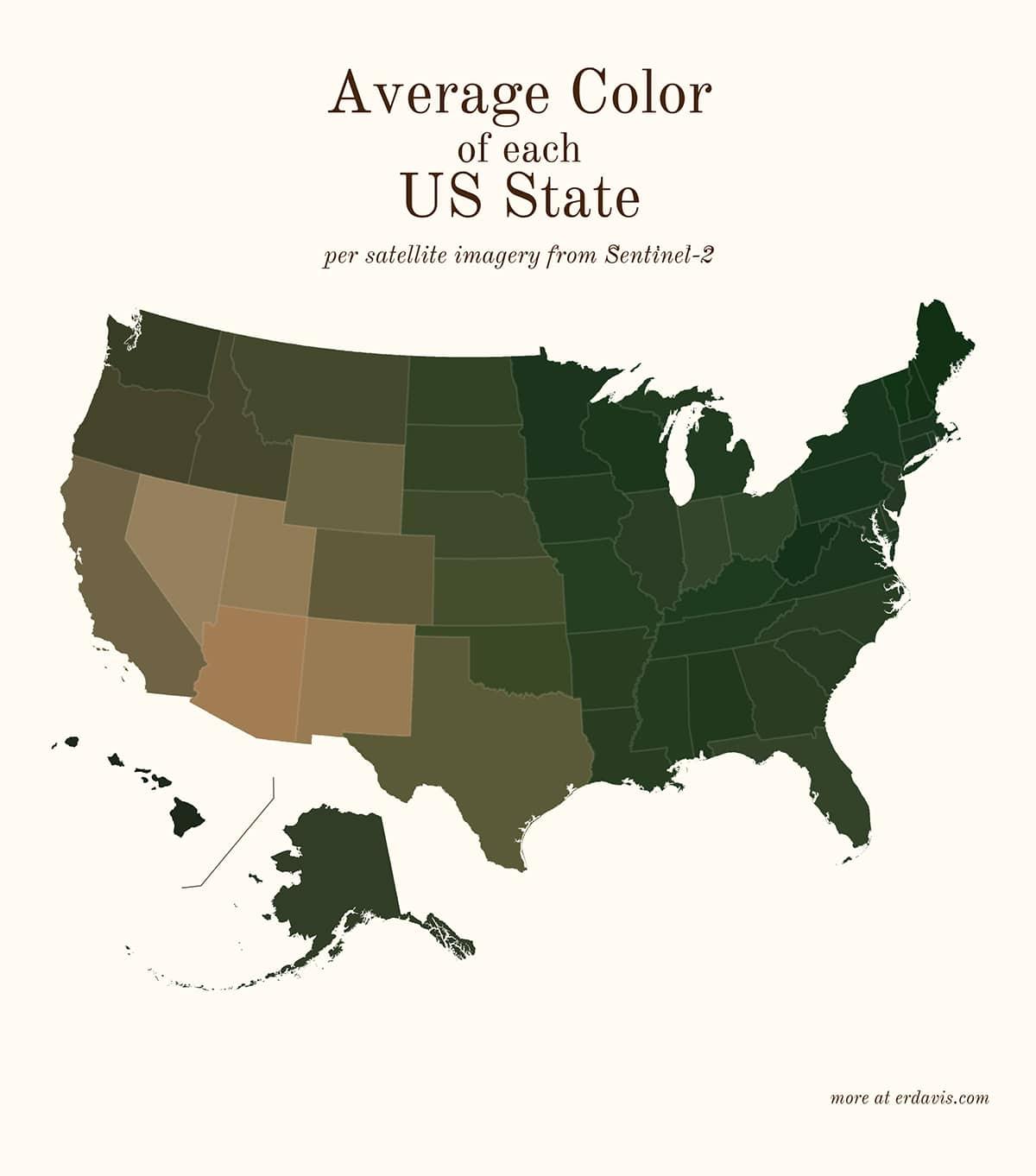 Средний цвет каждого штата Америки