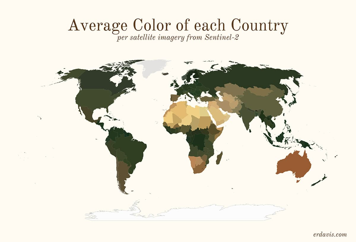 Средний цвет каждой страны