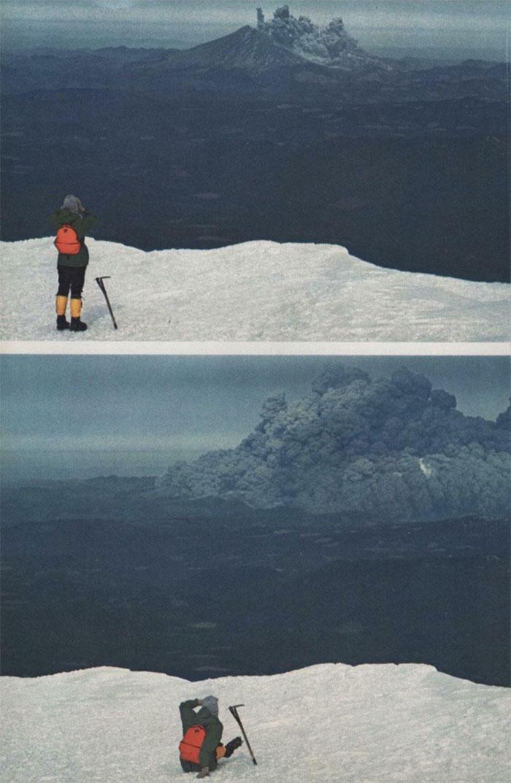 Фотография туриста, наблюдающего извержение вулкана Сент-Хеленс с вулкана Маунт-Адамс, примерно в 50 километрах к востоку