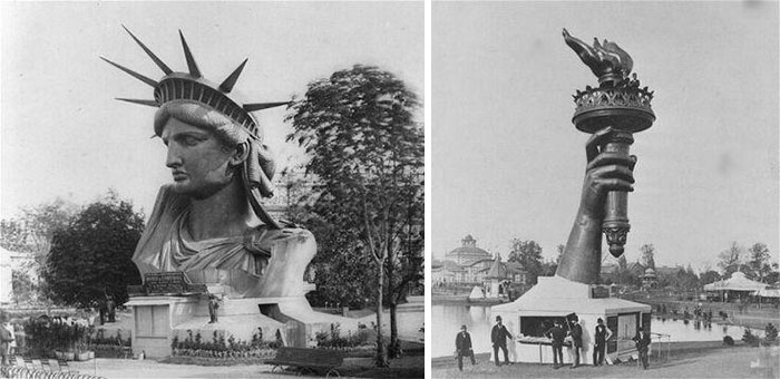 Статуя Свободы на Парижской всемирной выставке 1878 года перед полной сборкой и отправкой в Соединенные Штаты