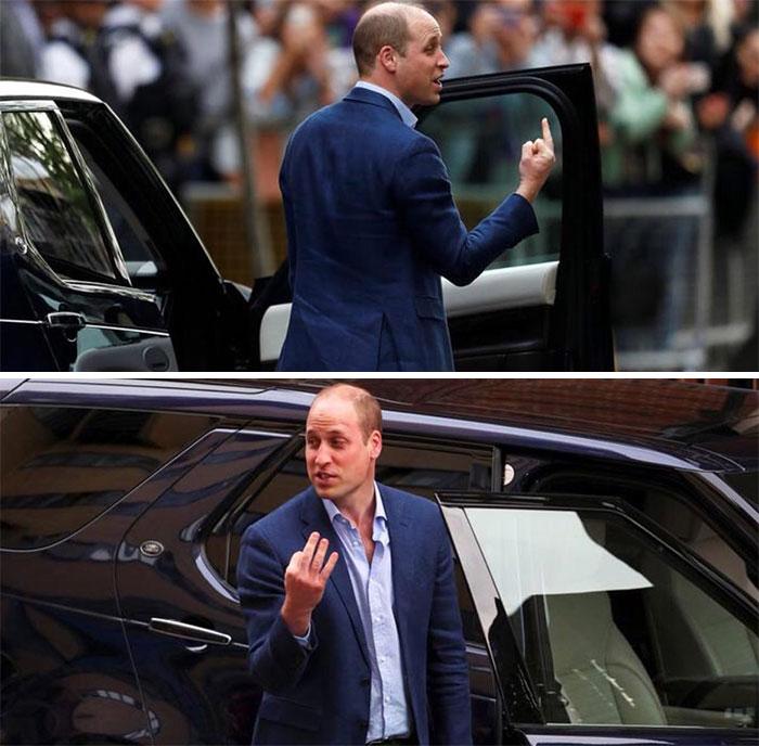 Принц Уильям показывает «средний палец» после рождения принца Луи
