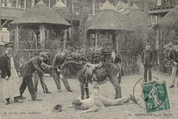 Забавные винтажные открытки с изображением людей, падающих с ослов