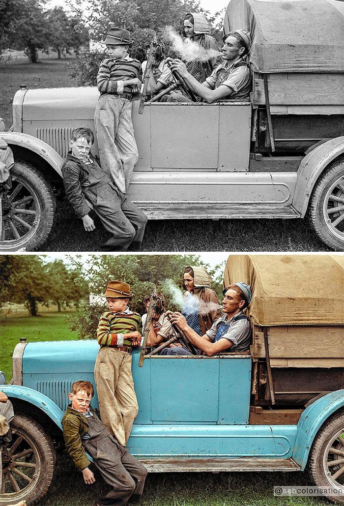 Семья сборщиков вишни, 1940 год
