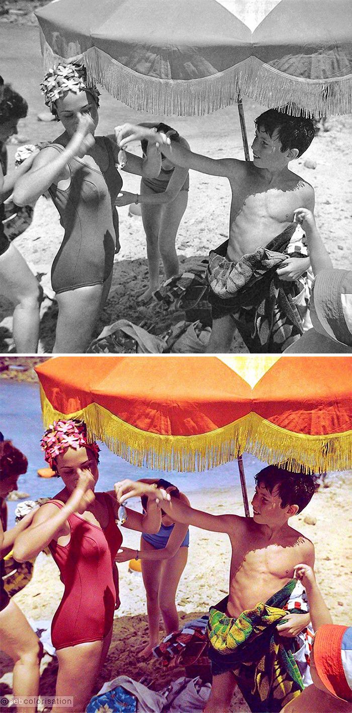 На пляже, Франция, 1967 год
