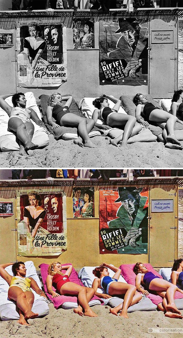 Молодые актрисы принимают солнечную ванну для рекламы фильма во время Каннского кинофестиваля, 1955 год