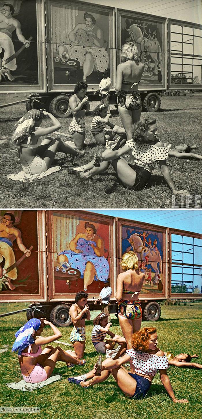 Девушки из цирка в Сарасоте, Флорида, США, 1949 год