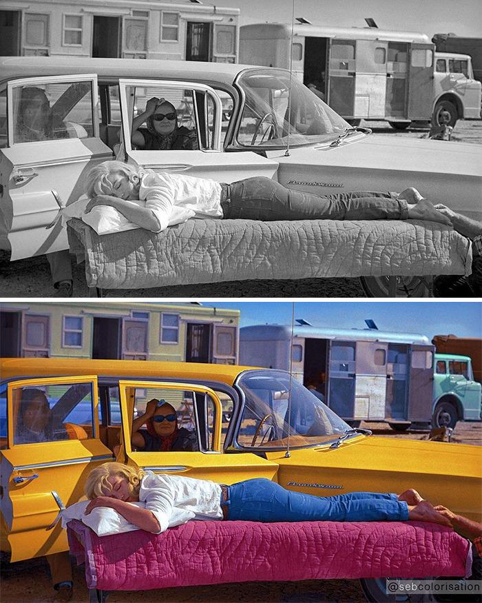Мэрилин Монро отдыхает на съёмках «Неприкаянных», 1960 год