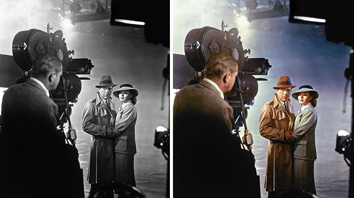 Бергман, Хемфри Богарт и Майкл Кертис на съёмках фильма «Касабланка», 1939 год