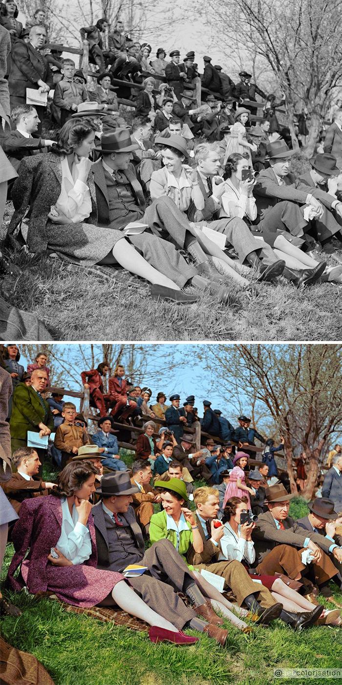 Зрители на скачке в Уортингтоне, Мэриленд, США, 1941 год