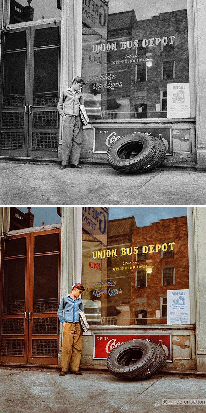 В ожидании автобуса, 1943 год