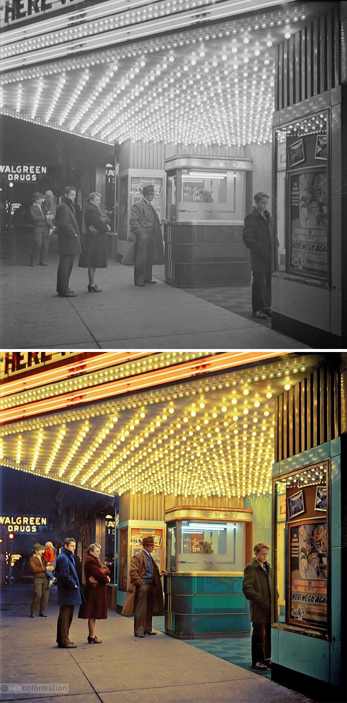 Блю-Айленд, Иллинойс, США. Семья идёт в кино, февраль 1943 года