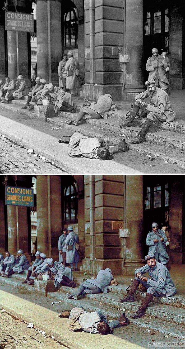 Французские солдаты в отпуске в Париже, Восточный вокзал, 1916 год
