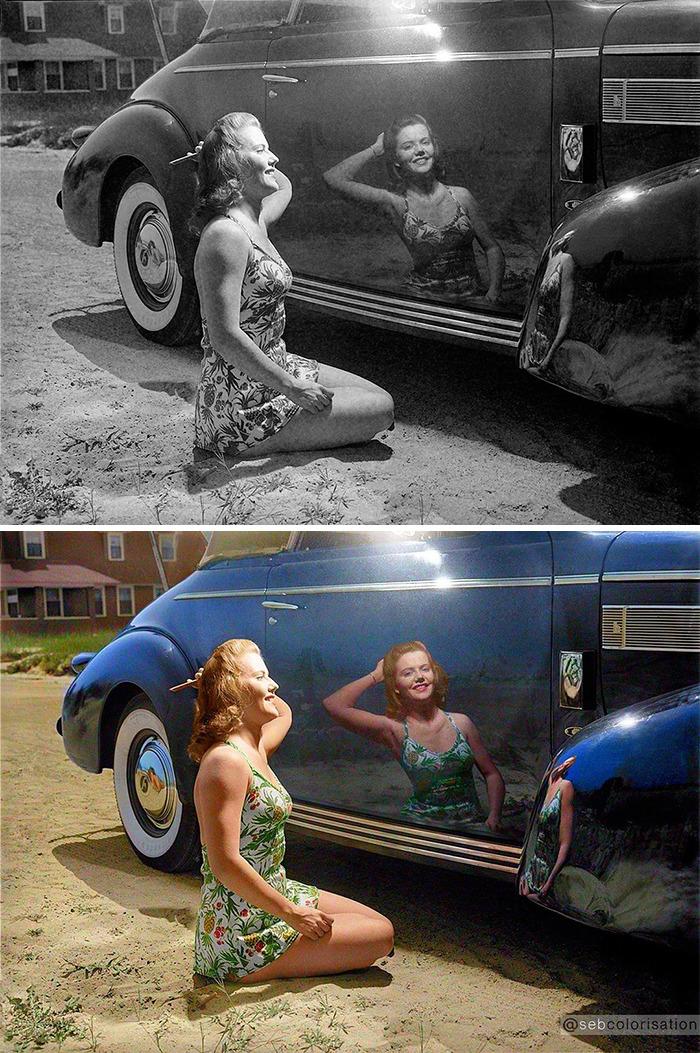 Автомобиль и девушка, 1942 год