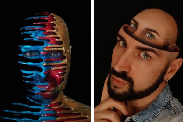 Итальянский художник использует своё тело в качестве холста для создания убедительных оптических иллюзий